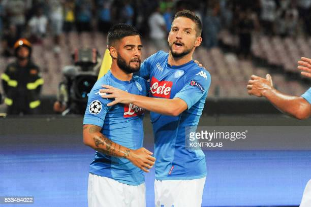 Some players of Napoli exult for the goal of Dries Mertens during the match between SSC Napoli and OGC Nice to qualify for the playoffs of the UEFA...