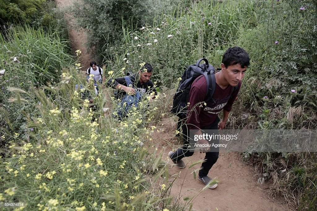 Some refugees, escaping from the evacuation in Idomeni, go to another refugee camp near Idomeni, Greece on May 25, 2016.