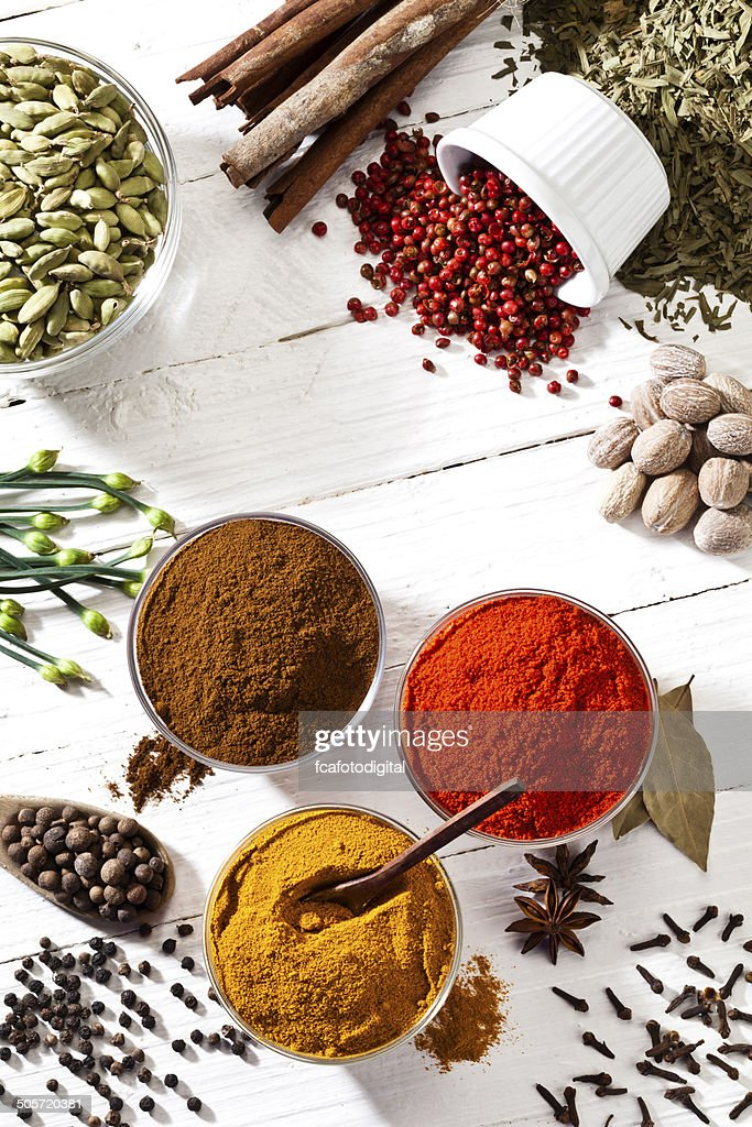 Some spices and herbs shot directly above on white table