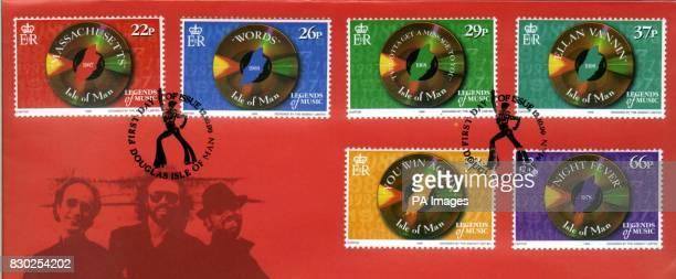 Some stamps honouring the pop group the Bee Gees that are to be issued on October 12 1999 in the Isle Of Man the island of their birth where their...