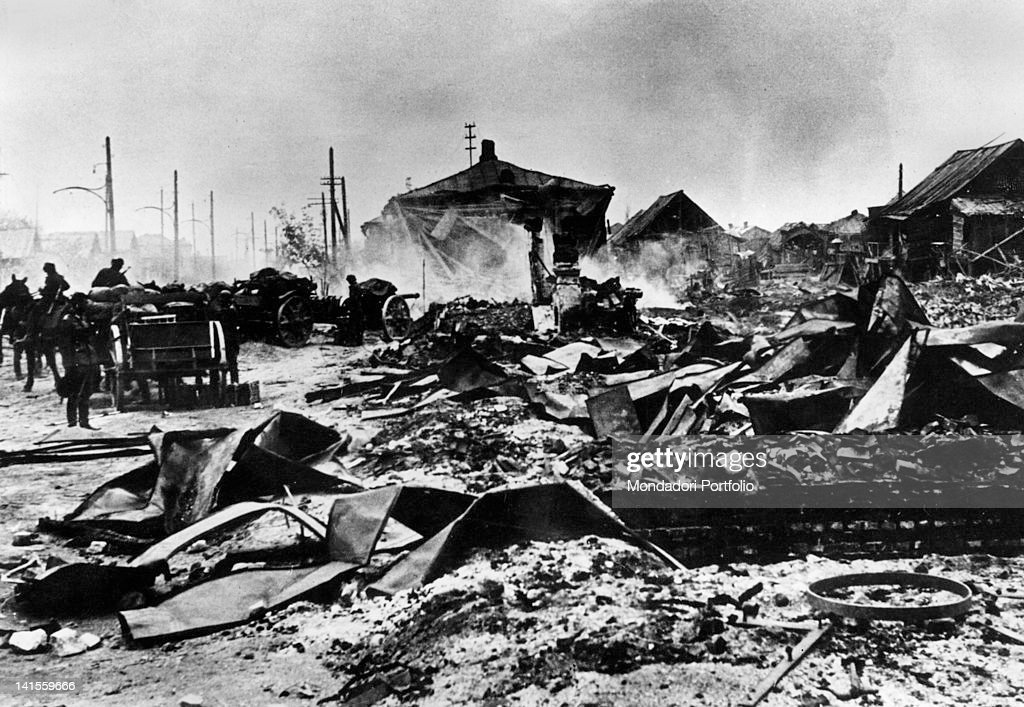 Some supply carts of the German Sixth Army passing by the ruins of the suburbs of Stalingrad Stalingrad October 1942