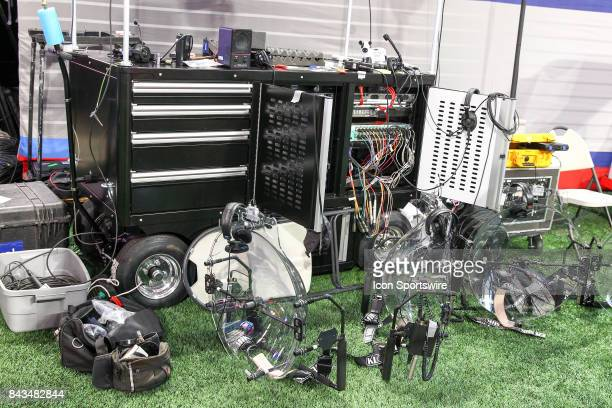 Some the sound equipment on the sideline before the start of the ChickfilA Kickoff college football game between the Georgia Tech Yellow Jackets and...