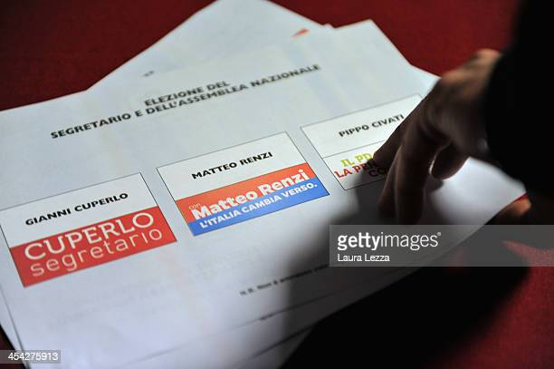 Some voting cards with the names of the candidates are seen at a polling station during the PD primary elections on December 8 2013 in Livorno Italy...