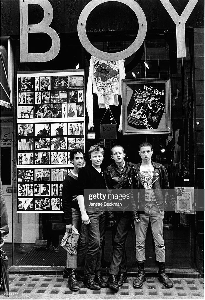 Some young punks gather in front of the shop BOY on King's Road in London, 1979.