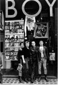 Some young punks gather in front of the shop BOY on King's Road in London 1979