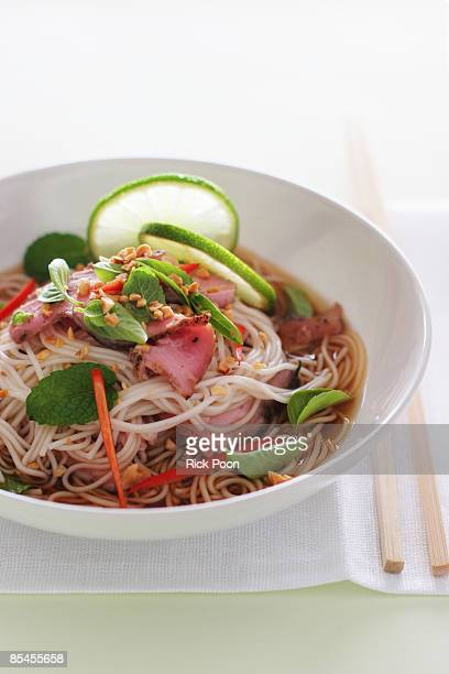 somen noodles with pork, mint, and lime