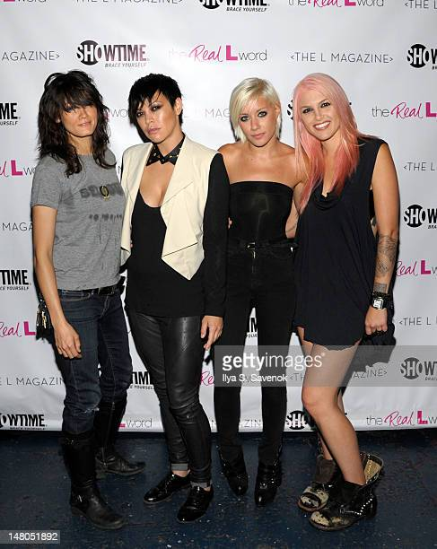 Somer Bingham Kiyomi McCloskey Amanda Leigh Dunn and Lauren Russell attend 'The Real L Word' Season 3 Premiere on July 8 2012 in Brooklyn burough of...
