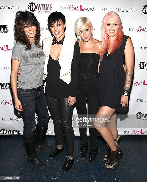 Somer Bingham Kiyomi McCloskey Amanda Leigh Dunn and Lauren Russell attend the 'The Real L Word' Premiere at Knitting Factory on July 8 2012 in the...