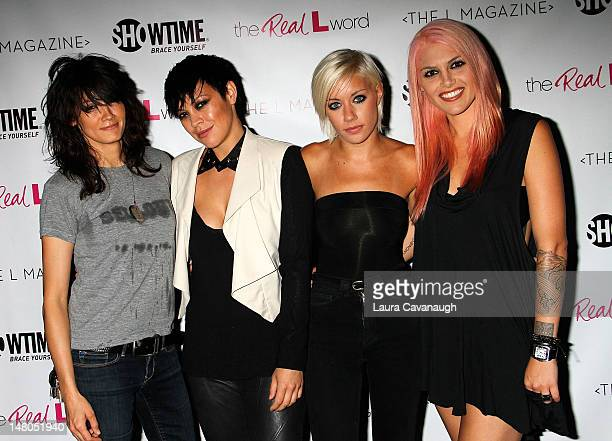 Somer Bingham Kiyomi McCloskey Amanda Leigh Dunne and Lauren Russell attend the 'The Real L Word' Season 3 Premiere on July 8 2012 at the Knitting...