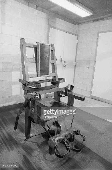 Connecticut prison officials display 6/29 the state's electric chair that was last sued in 1960 but is the center of interest after a jury urged the...