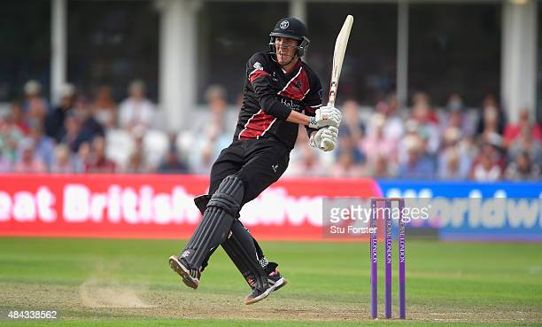 Somerset batsman Craig Overton hits out during his unbeaten 40 during the Royal London OneDay Cup match between Somerset and Surrey at The County...