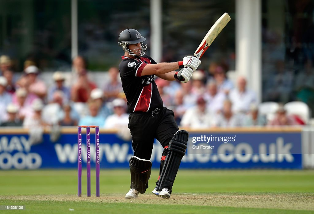 Somerset batsman Jim Allenby hits out during the Royal London OneDay Cup match between Somerset and Surrey at The County Ground on August 17 2015 in...