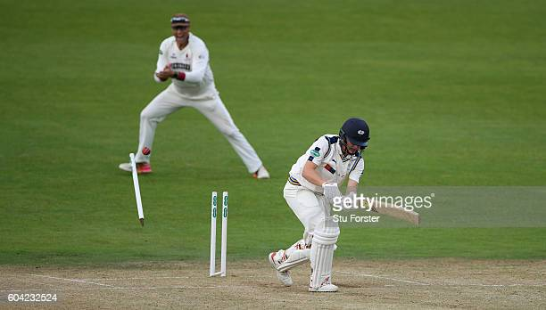 Somerset batsman Marcus Trescothick celebrates as Yorkshire batsman Gary Ballance is bowled by Tim Groenewald during day two of the Division One...