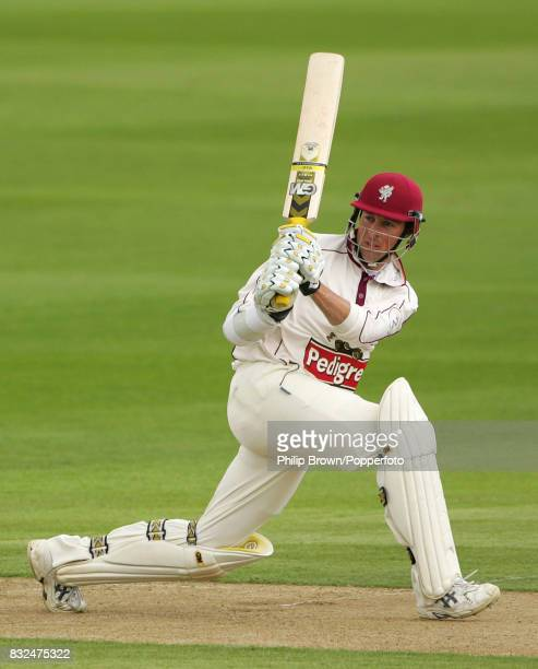 Somerset batsman Marcus Trescothick hits a boundary during his innings of 154 in the County Championship match between Northamptonshire and Somerset...