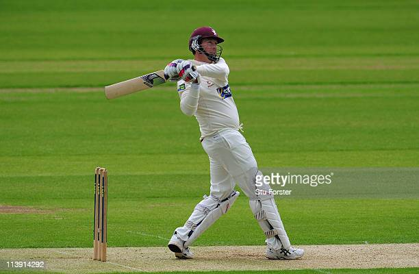 Somerset batsman Marcus Trescothick hits a leg side boundary during day one of the LV County Championship Division One match between Durham and...