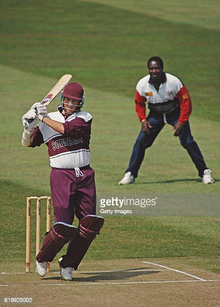 Somerset batsman Marcus Trescothick hits out during a Sunday League match against Gloucestershire at the Counbty Ground on May 7 1995 in Bristol...
