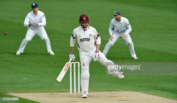 Somerset batsman Marcus Trescothick is out caught off his glove during day one of the Division One LV County Championship match between...