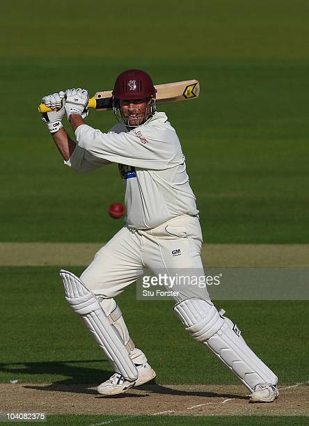 Somerset batsman Marcus Trescothick picks up some runs during Day two of the LV County Championship Division One match between Durham and Somerset at...