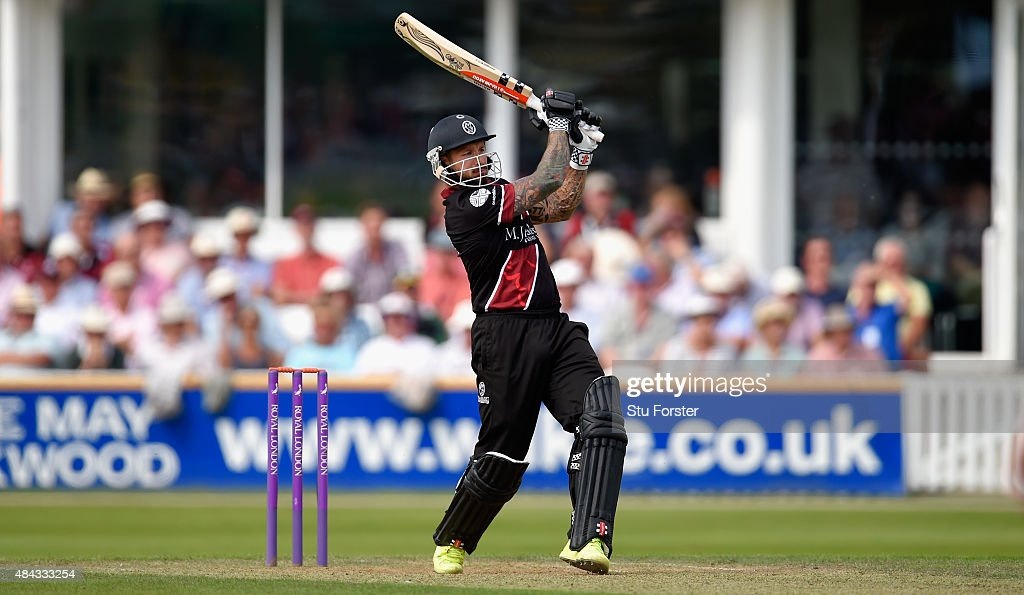 Somerset batsman Peter Trego hits out during the Royal London OneDay Cup match between Somerset and Surrey at The County Ground on August 17 2015 in...