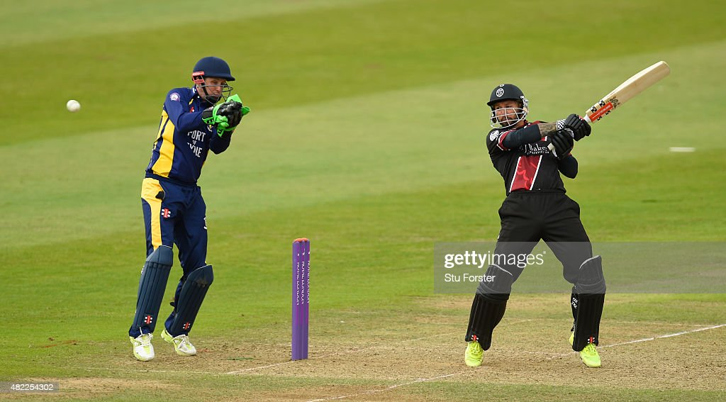 Somerset batsman Peter Trego hits out watched by Phil Mustardnduring the Royal London OneDay Cup match between Somerset and Durham at the County...