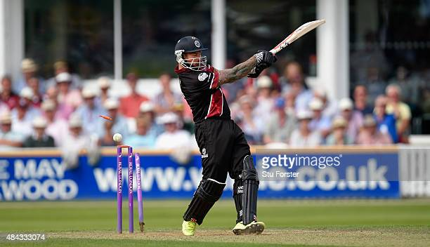 Somerset batsman Peter Trego is bowled by Sam Curran for 41 during the Royal London OneDay Cup match between Somerset and Surrey at The County Ground...