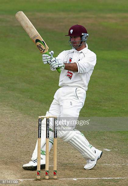 Somerset batsman Ricky Ponting pulls a ball to the boundary during his century during the Second day of the Frizzell County Championship game between...