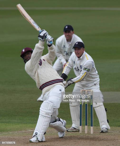 Somerset batsman Vernon Philander hits a six off Warwickshire's Darren Maddy during his innings of 38 during the LV County Championship Division One...