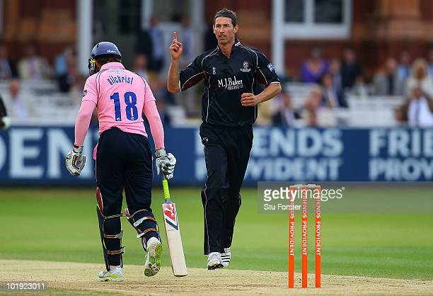 Somerset bowler Ben Phillips celebrates after taking the wicket of Middlesex batsman Adam Gilchrist during the Friends Provident T20 match between...