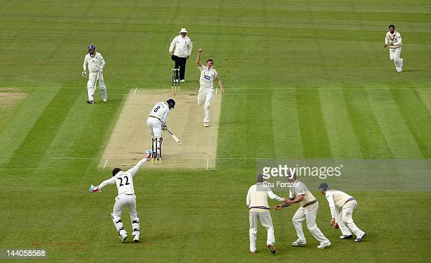 Somerset bowler Craig Overton celebrates after dismissing Durham batsman Ruel Brathwaite to wrap up the innings during day one of the LV County...