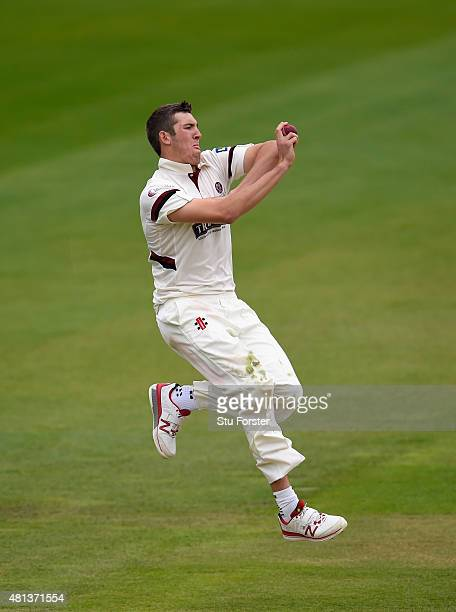 Somerset bowler Craig Overton in action during day three of the LV County Championship Division One match between Warwickshire and Somerset at...