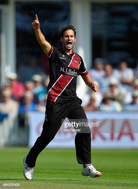 Somerset bowler Lewis Gregory celebrates after dismissing Surrey batsman Ben Foakes during the Royal London OneDay Cup match between Somerset and...