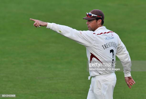 Somerset captain Marcus Trescothick gestures to his teammates during the LV= County Championship Division One match at Trent Bridge Nottingham