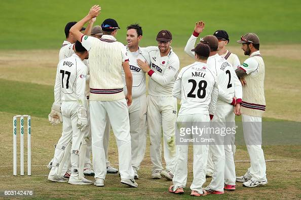 Somerset celebrate a wicket during day one of the Specsavers County Championship Division One match between Yorkshire and Somerset at Headingley on...
