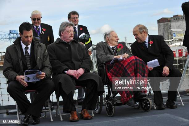 Somerset cricketer Marcus Trescothick Falklands War veteran Simon Weston Harry Patch and Robin Dowdeswell Chairman of the Wells branch of the Royal...