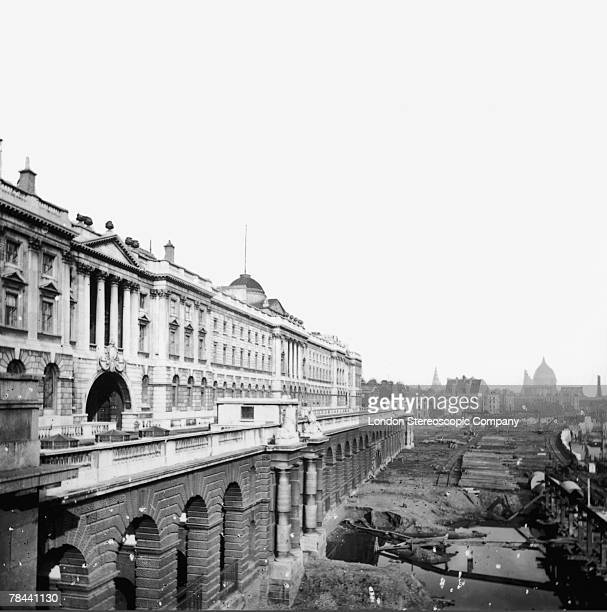 Somerset House designed by architect William Chambers during the construction of the Thames embankment circa 1865