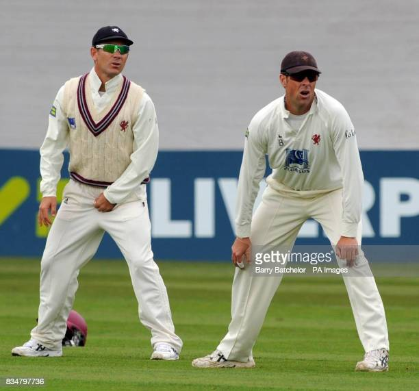 Somerset Justin Langer and Marcus Trescothick during the LV County Championship Division One match at the County Ground in Taunton