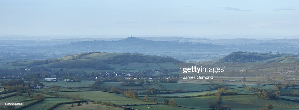 Somerset Levels and Glastonbury Tor : Stock Photo