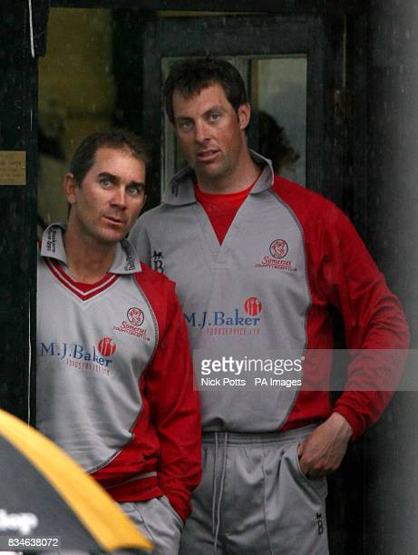 Somerset Sabres captain Justin Langer and Marcus Trescothick