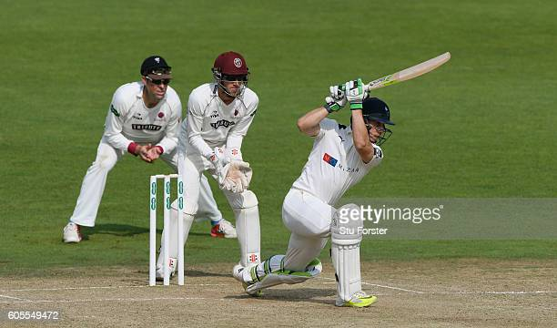 Somerset slip Marcus Trescothick and wicketkeeper Ryan Davies look on as Yorkshire batsman Jake Lehmann goes on the attack during day three of the...