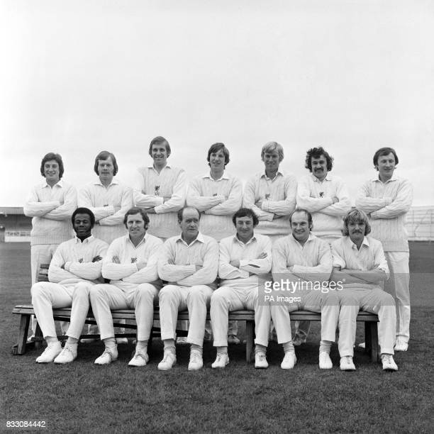 Somerset team group Phil Slocombe Keith Jennings Bob Clapp Ian Botham Brian Rose Dennis Breakwell and Vic Marks Hallam Moseley Graham Burgess Brian...