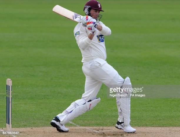Somerset's Captain Marcus Trescothick hits out during the LV County Championship Division One match at Edgbaston Birmingham