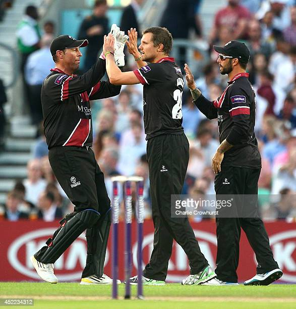 Somerset's Dirk Nannes celebrates taking the wicket of Tillakaratne Dilshan of Surrey during the Natwest T20 Blast match between Surrey and Somerset...