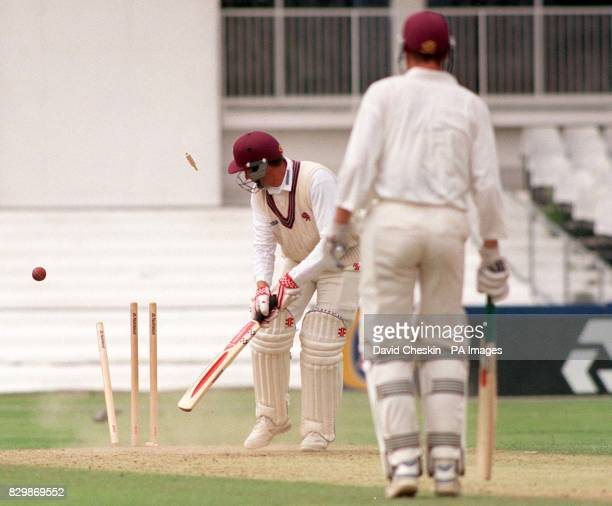 Somerset's H J Trump is bowled spectacularly by Surrey's Brendan Julian during today's oneday NatWest trophy game at The Foster's Oval in London By...