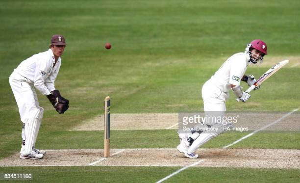 Somerset's Justin Langer his hits out during the LV County Championship match at Whitgift School Surrey