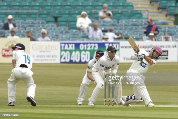 Somerset's Justin Langer hits a ball for four during the Liverpool Victoria County Championship match at the County Ground Hove