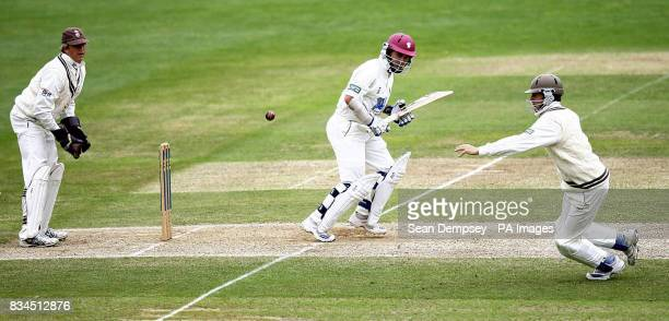 Somerset's Justin Langer in action during the LV County Championship match at Whitgift School Surrey