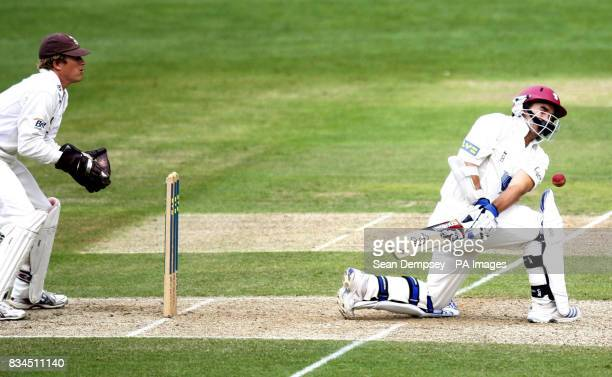 Somerset's Justin Langer is hit by a ball bowled by Surrey's Mushtaq Saqlain during the LV County Championship match at Whitgift School Surrey