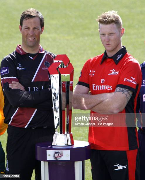 Somerset's Marcus Trescothick and Durham's Ben Stokes pose with the Natwest T20 Blast trophy during the Natwest T20 Blast Media Day at Edgbaston...