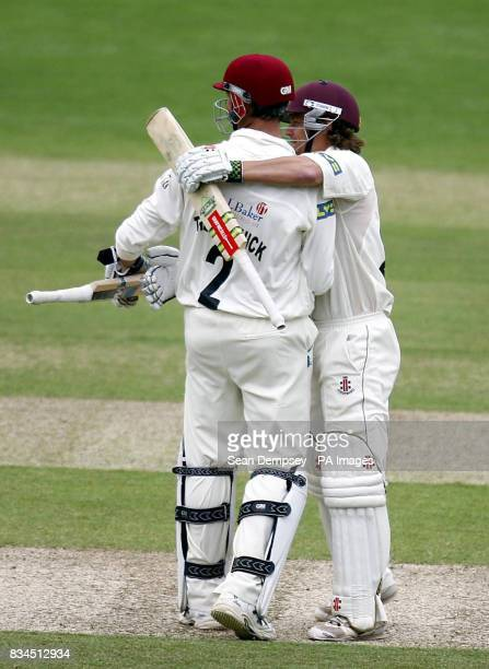 Somerset's Marcus Trescothick and James Hildreth after defeating Surrey in the LV County Championship match at Whitgift School Surrey