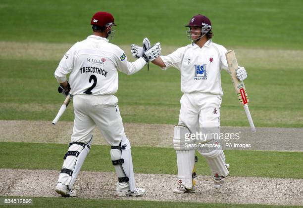 Somerset's Marcus Trescothick and James Hildreth after defeating Surrey during the LV County Championship match at Whitgift School Surrey